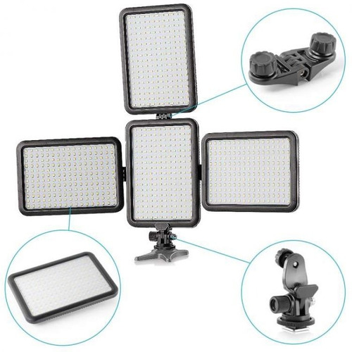 iluminador led triopo ttv-204 p/ video dslr luz calida/fria