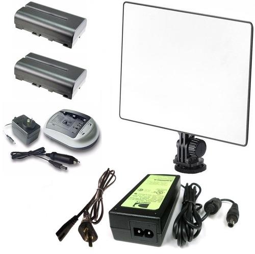 iluminador led yn-300 air 2 baterias np-f550 cargador fuente