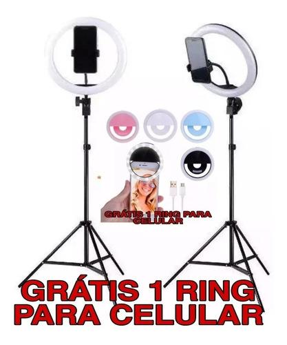iluminador ring light anel luz 26cm make e fotos com tripé