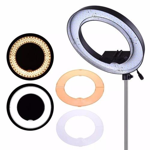 iluminador ring light de led rl12 35cm e tripé 2m