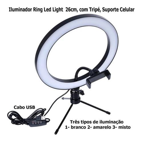 iluminador ring light portátil spectrum sp26 led 3 cores 10