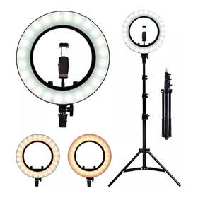 Iluminador Ring Ligth Anel Luz 26cm Tripé 2m Led Fotos Make