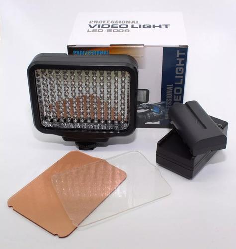 iluminador video light led 5009 + bateria f570 canon nikon