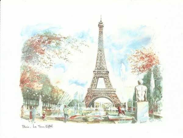 Ilustracion de la torre eiffel paris lamina 45 x 30 cm for Classic muebles montevideo