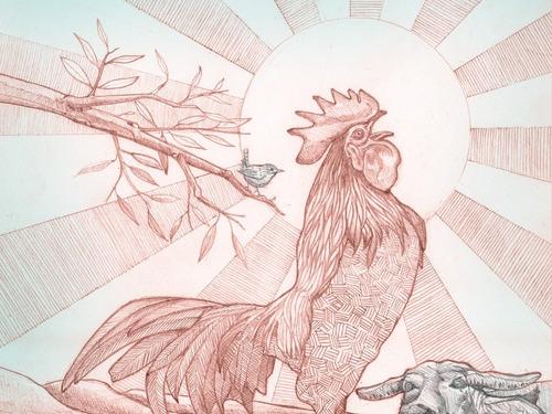 ilustraciónoriginal zodíaco horóscopo chino gallo fine art