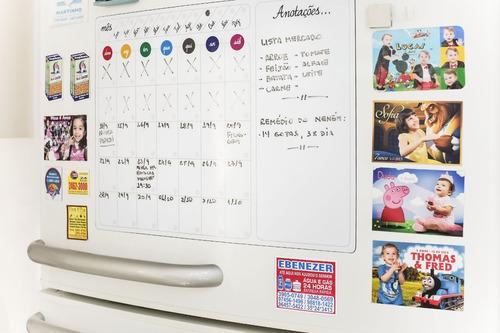 ímã de geladeira - calendário semanal - quadro branco