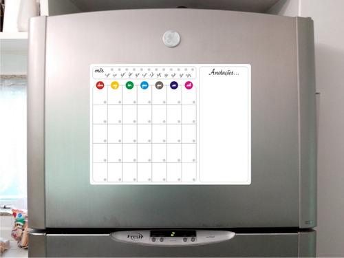 ímã de geladeira calendário semanal quadro branco recados