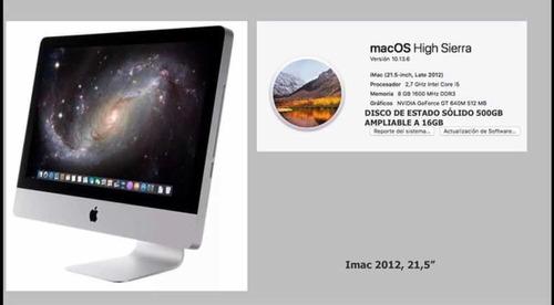 imac 2012 con disco de estado solido 500gb ampliable!!