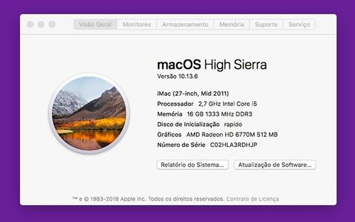 imac 27  - 2.7ghz core i5 - 1tb + ssd - 16gb ram - 2011