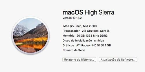 imac 27 - i5 2,8ghz - 20gb - hd 500gb/ssd - 1gb video