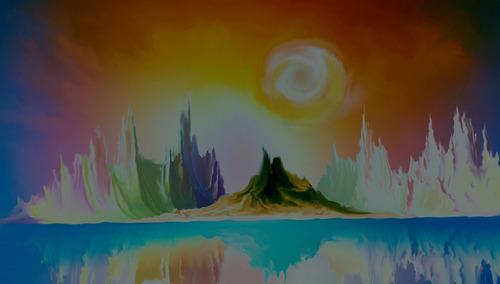 imagem de paisagen criada em arte digital para decoração