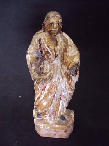 imagem santo escultura de são josé de botas em madeira
