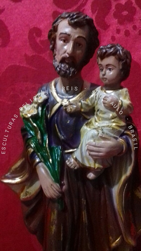 imagem são josé com menino jesus 30cm pintura barroca