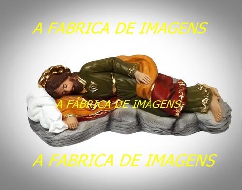 imagem são josé dormindo estatua gesso santo 20cm original