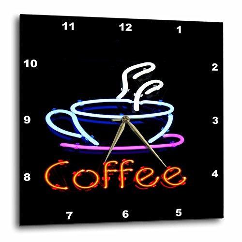 imagen de 3drose de neón cartel con palabra café y taza de