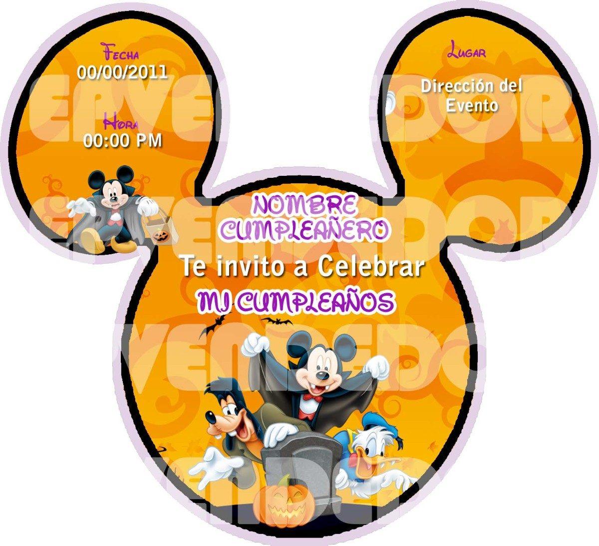 Imagen De Invitacion Mickey Mouse Halloween Invitaciones