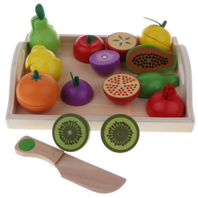 Imán Frutas Verduras Corte Madera Alimentos Juego De Yfgyb76