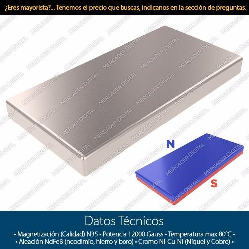 imán de neodimio 20mm x 10mm x 2mm n35 barra placa bloque