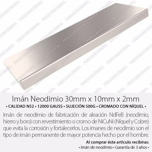 imán de neodimio 30mm x 10mm x 2mm barra placa bloque