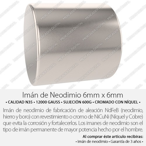imán de neodimio 6mm x 6mm cilindrico broche cilindro
