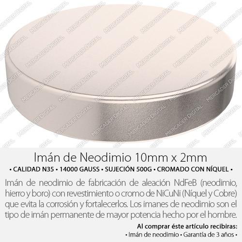 imán de neodimio de 10mm x 2mm cilindro disco broche