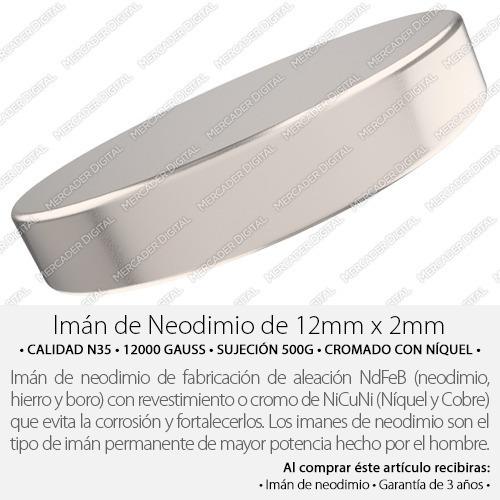 imán de neodimio de 12mm x 2mm cilindro disco broche
