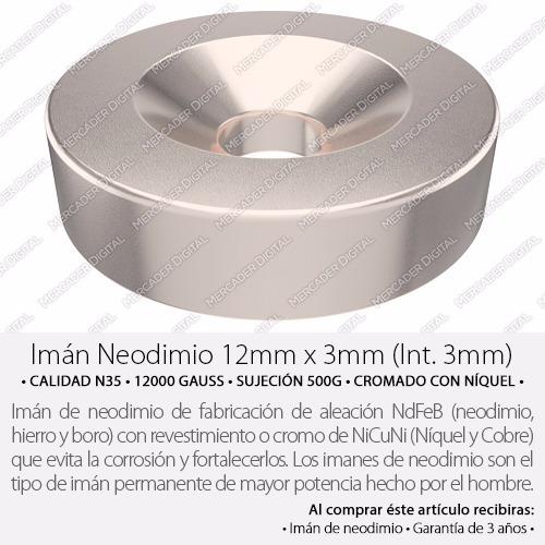 imán de neodimio de 12mm x 3mm int. 3mm dona anillo