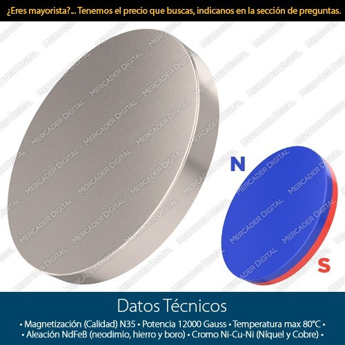imán de neodimio de 25mm x 3mm cilindro disco broche