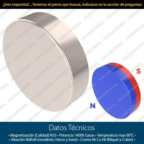 imán de neodimio de 6mm x 1.5mm cilindro disco broche