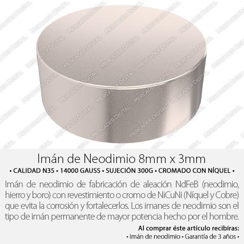 imán de neodimio de 8mm x 3mm cilindro disco broche