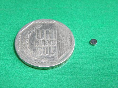 imanes de neodimio 3mm x 1mm 3 soles pack 10 unidades