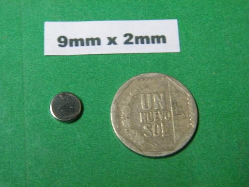 imanes de neodimio 9mm x 2mm - 9soles x pack 10 unidades