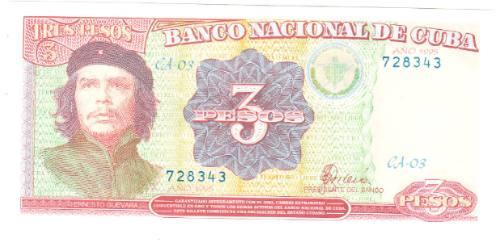 imitación de billete cuba tres pesos ernesto guevara 1995