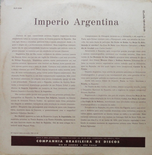 imperio argentina enrique vizcaino sua orquestra - lp sinter
