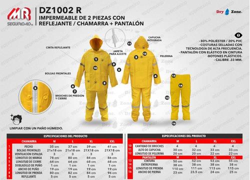 impermeable 2 piezas chamarra pantalon reflejante epp mexico