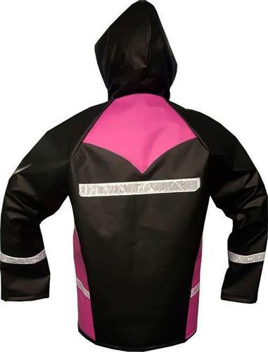 impermeable moto negro rosado 2 piezas cal18 sdc 2 obsequios