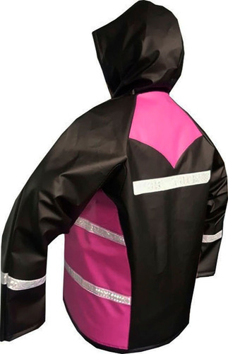 impermeable moto negro rosado 4 piezas cal18 sdc 2 obsequios