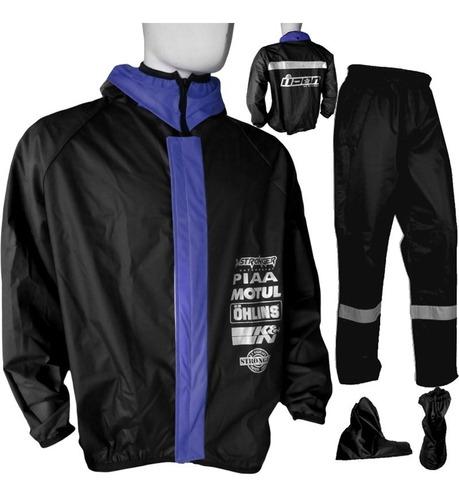impermeable negro tipo icon traje motociclistas 4 piezas pro