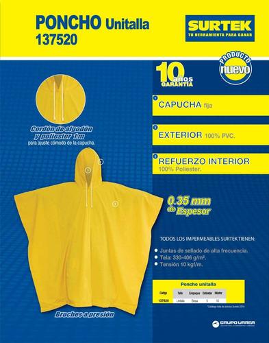 impermeable poncho 0.35 mm 100% pvc surtek 137520 hm4