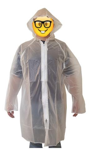 impermeable saco con gorro pvc transparente