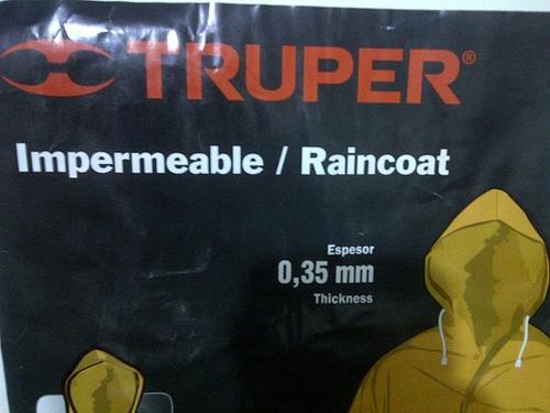 impermeable truper pvc talla xl tipo gaban color amarillo 20