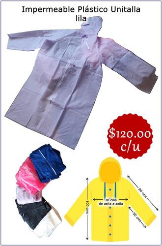 impermeable unitalla color lila nuevo pvc