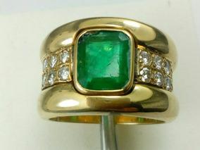 85fa5dccb99f Imponente Anillo De Oro 18k Con Esmeralda Y Brillantes