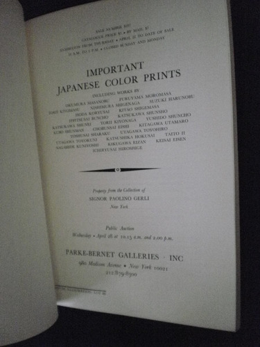 important japanise color prints - parke bernet, abril 1971