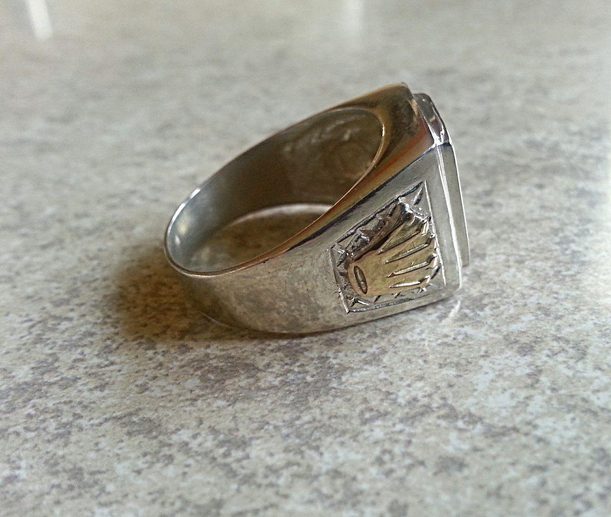 a9c48d699dc2 importante anillo hombre de plata 925 con corona de oro. Cargando zoom.