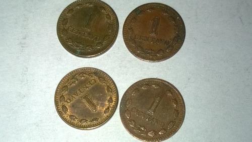 importante lote de 4 monedas argentina de 1 centavo años 40