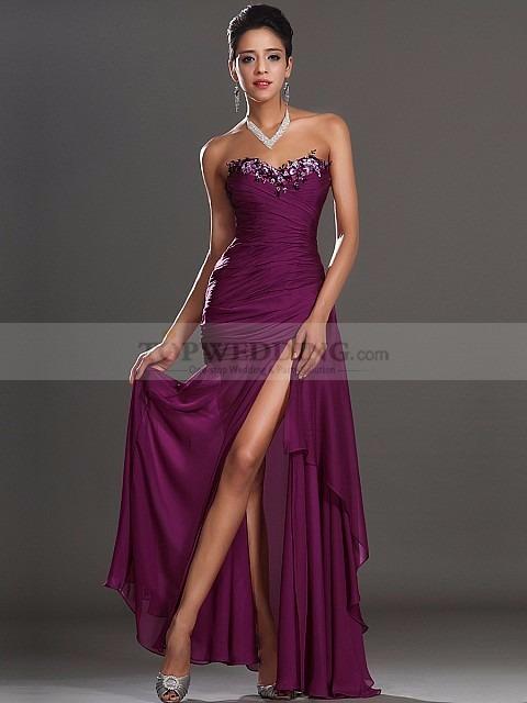 Importante Vestido Largo Noche Purpura Con Etiqueta