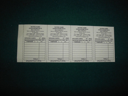 imprenta boletas 5x1 autocop.1.000 $ 10.000+iva. - en horas.