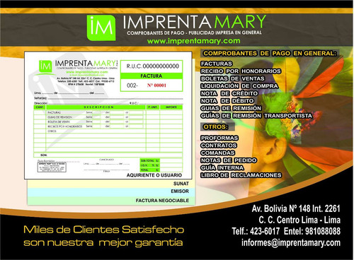 imprenta mary s.a.c. - facturas - boletas - guias