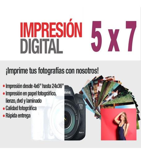 impresión 100 fotos - tamaño 5x7 - papel brillante - kodak